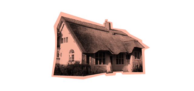 Thatched cottage viewed from the side